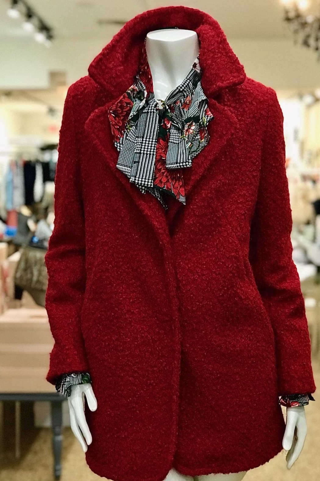 Karen Kane Boucle Red Carcoat - Front Cropped Image