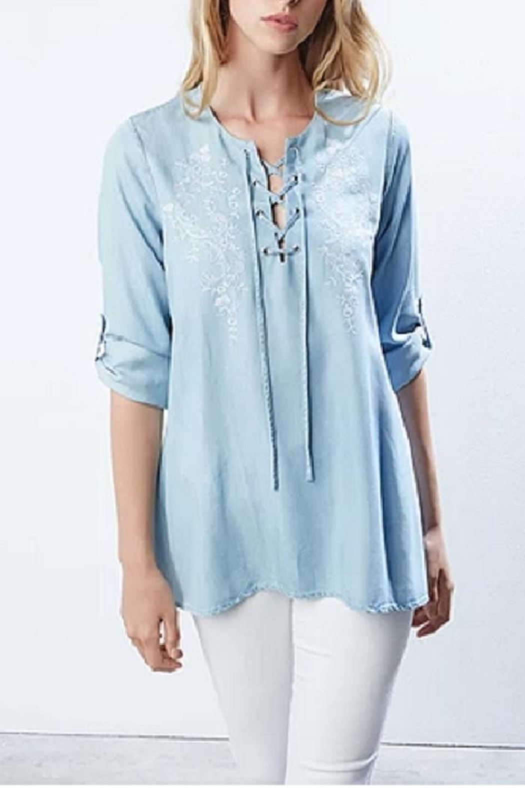 Karen Kane Chambray Embroidered Top - Back Cropped Image