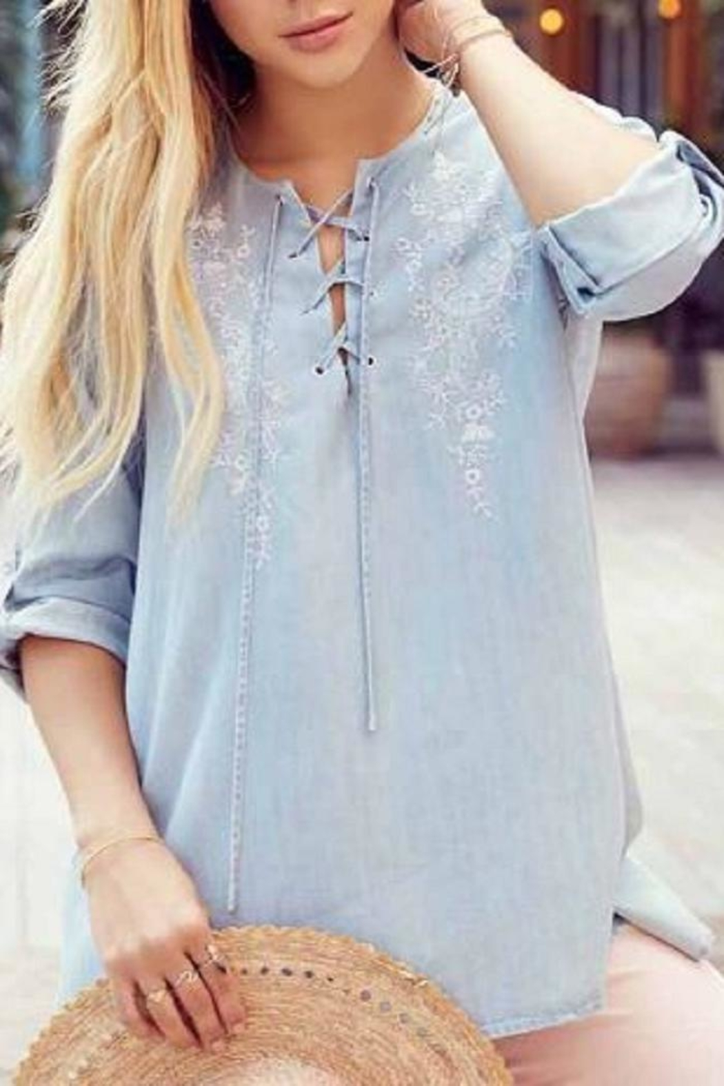 Karen Kane Chambray Embroidered Top - Front Full Image