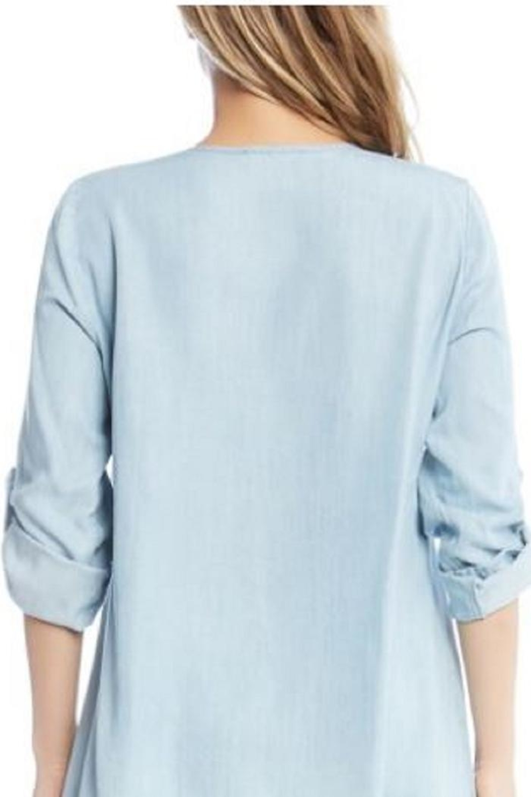 Karen Kane Chambray Embroidered Top - Side Cropped Image