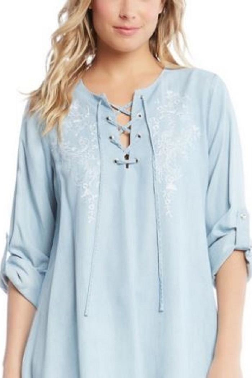 Karen Kane Chambray Embroidered Top - Front Cropped Image