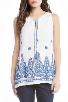 Shoptiques Product: Embroidered Tassel-Tie Top