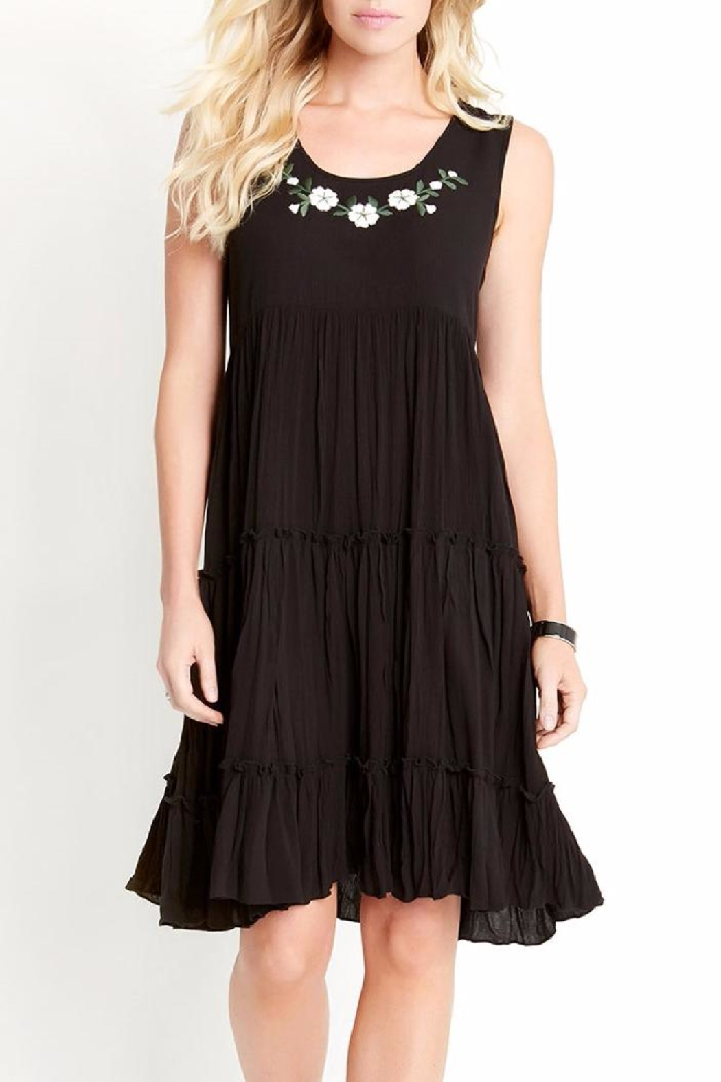 Karen Kane Embroidery Tiered Dress - Side Cropped Image