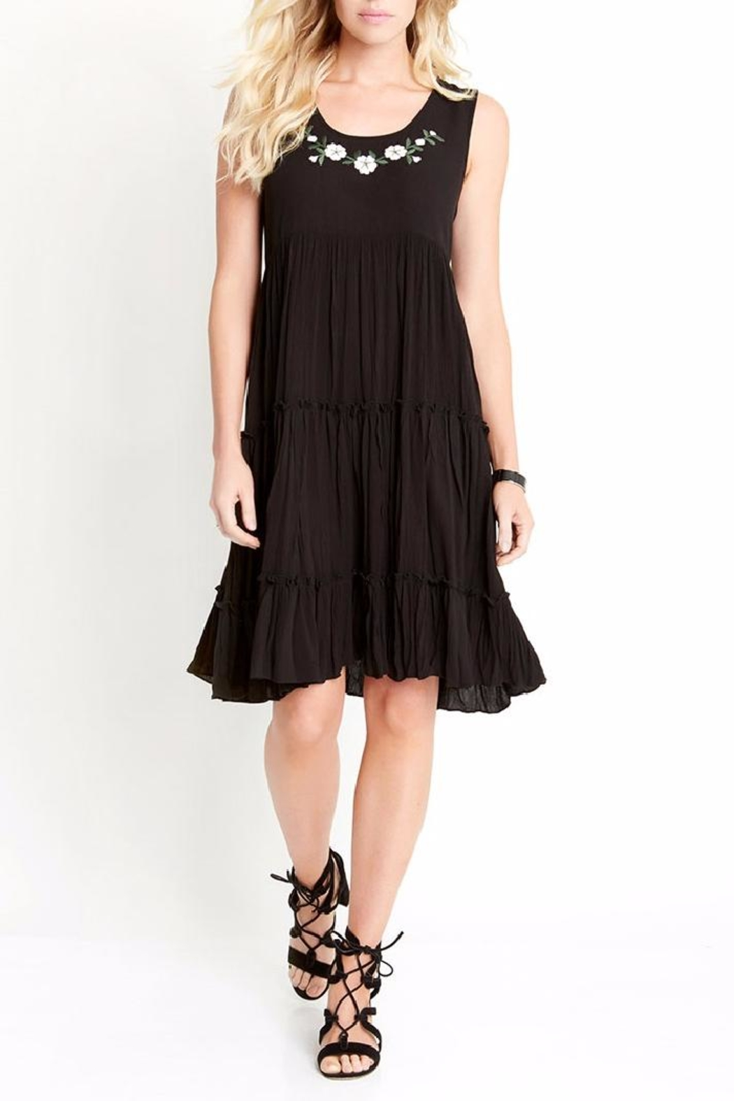 Karen Kane Embroidery Tiered Dress - Front Cropped Image
