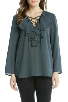 Shoptiques Product: Grey Lace-Up Blouse
