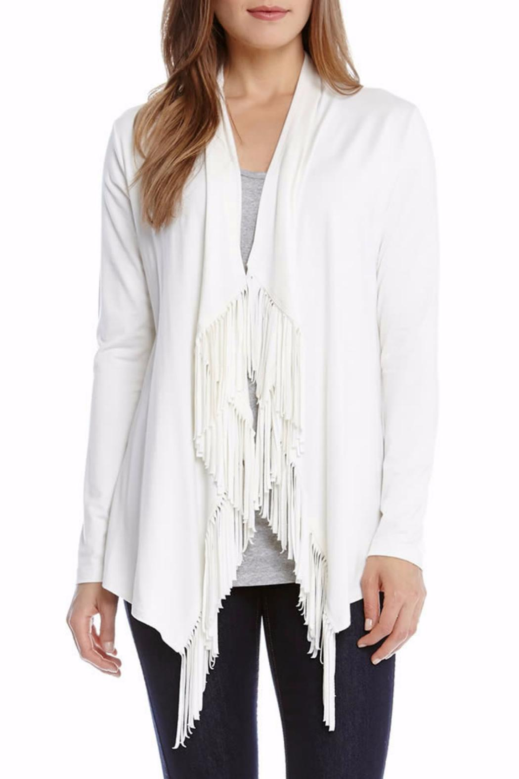 Karen Kane Off-White Fringe Cardigan - Front Cropped Image - Karen Kane Off-White Fringe Cardigan From Texas By Le Marche