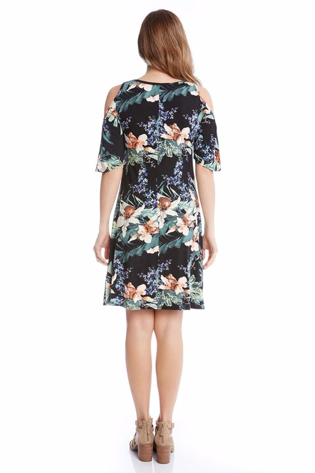 Karen Kane Orchid Cold Shoulder Dress - Front Full Image