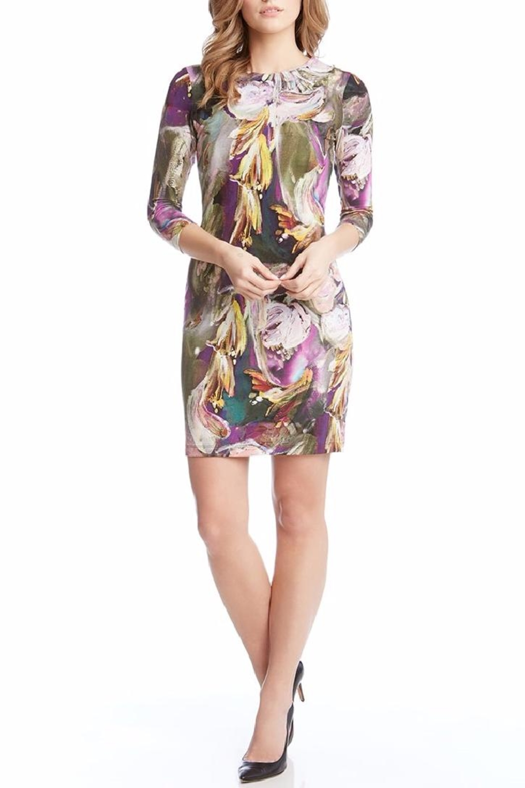Karen Kane Abstract Floral Dress - Front Cropped Image