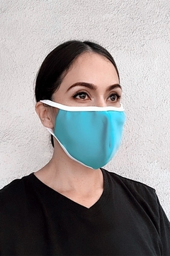 Karen Michelle Aqua With White Band Face Mask - Product List Image