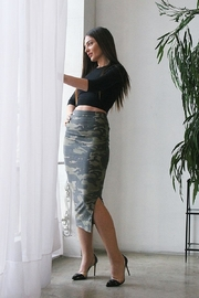 Karen Michelle Camo Print Midi Skirt - Product Mini Image