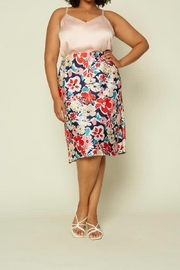 Karen Michelle Floral Print Plus Soft As Silk Skirt - Front cropped