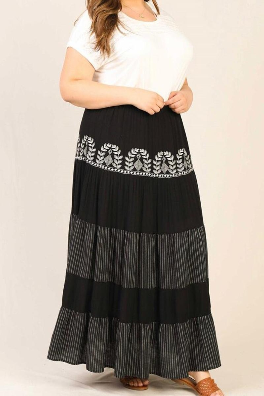 Karen Michelle Plus-Size Embroidered Maxi Skirt - Main Image
