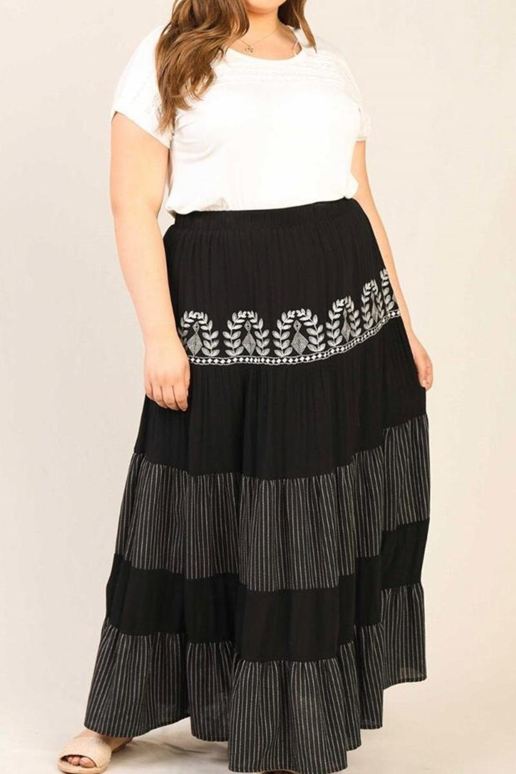 Karen Michelle Plus-Size Embroidered Maxi Skirt - Front Full Image
