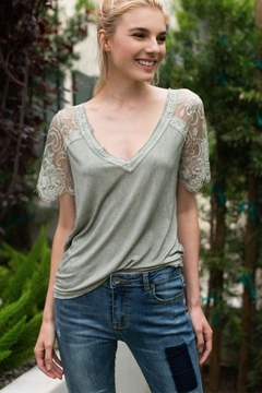 Karen Michelle Sage Knit Top With Lace Sleeve - Product List Image