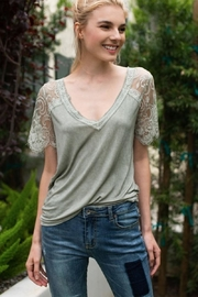Karen Michelle Sage Knit Top With Lace Sleeve - Product Mini Image
