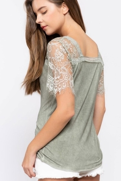 Karen Michelle Sage Knit Top With Lace Sleeve - Alternate List Image