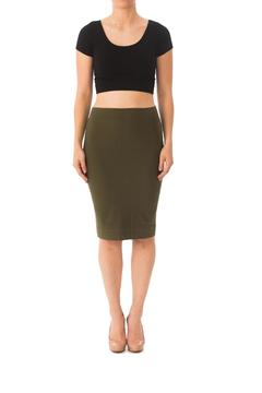 Karen Michelle Solid Fitted Pencil-Skirt - Product List Image