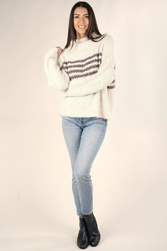 Karen Michelle Striped Popcorn Sweater - Product List Image