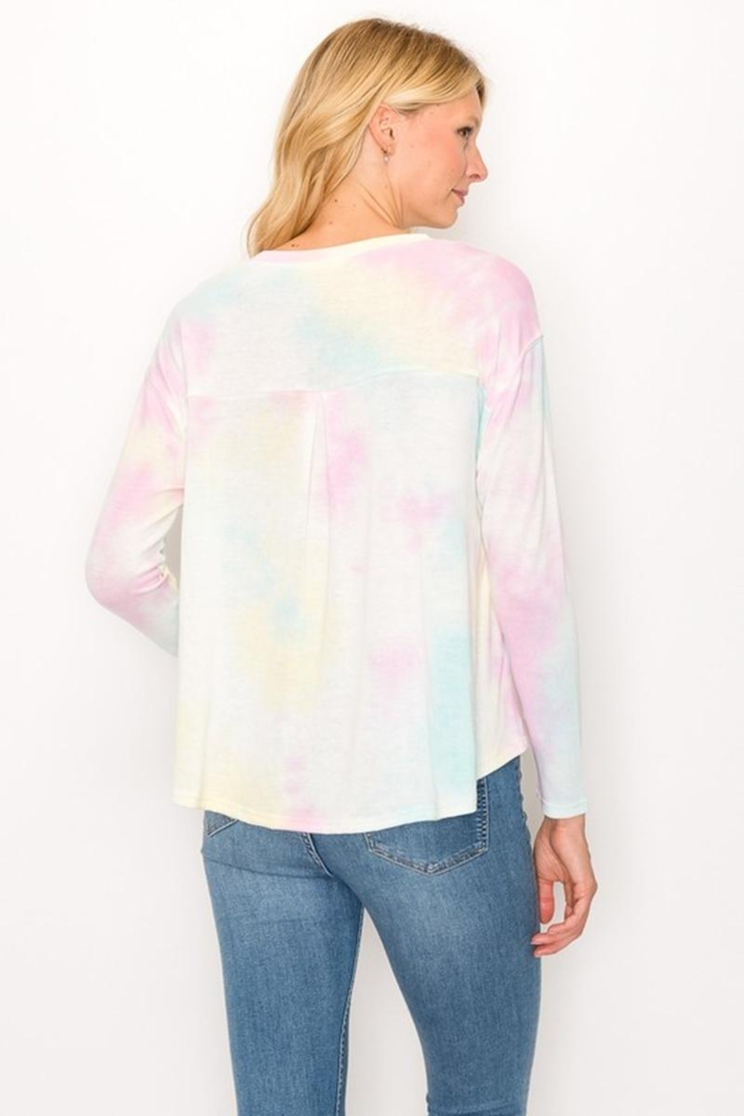 Karen Michelle Tie Dye Long Sleeve Round Neck With Back Pleat - Side Cropped Image