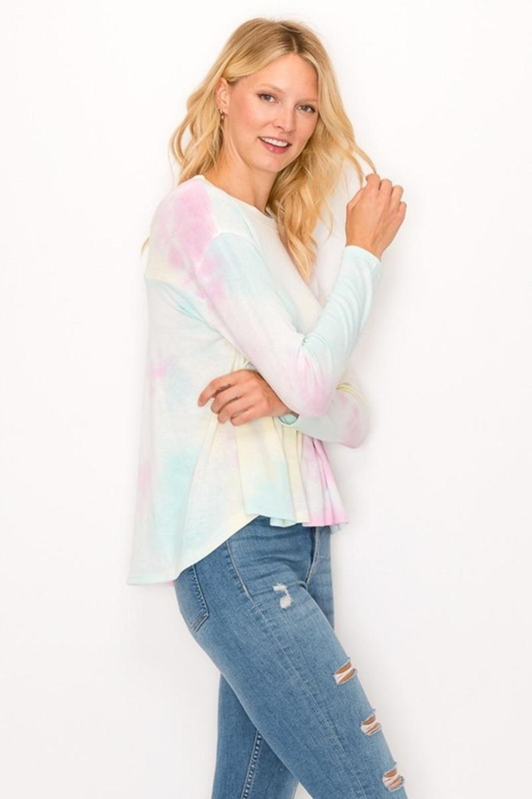 Karen Michelle Tie Dye Long Sleeve Round Neck With Back Pleat - Main Image