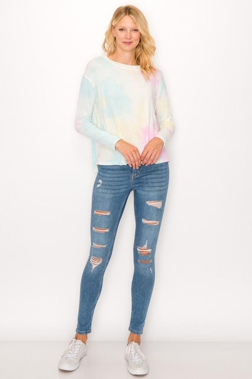 Karen Michelle Tie Dye Long Sleeve Round Neck With Back Pleat - Front Full Image