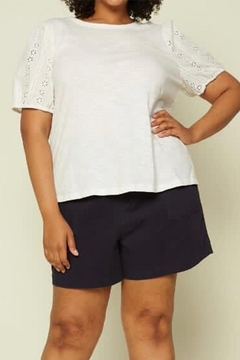 Karen Michelle White Eyelet Lace Blouse Plus - Product List Image