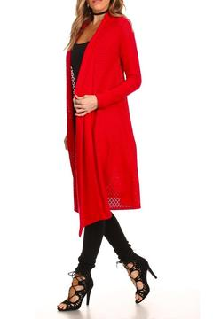 Shoptiques Product: Long Red Cardigan
