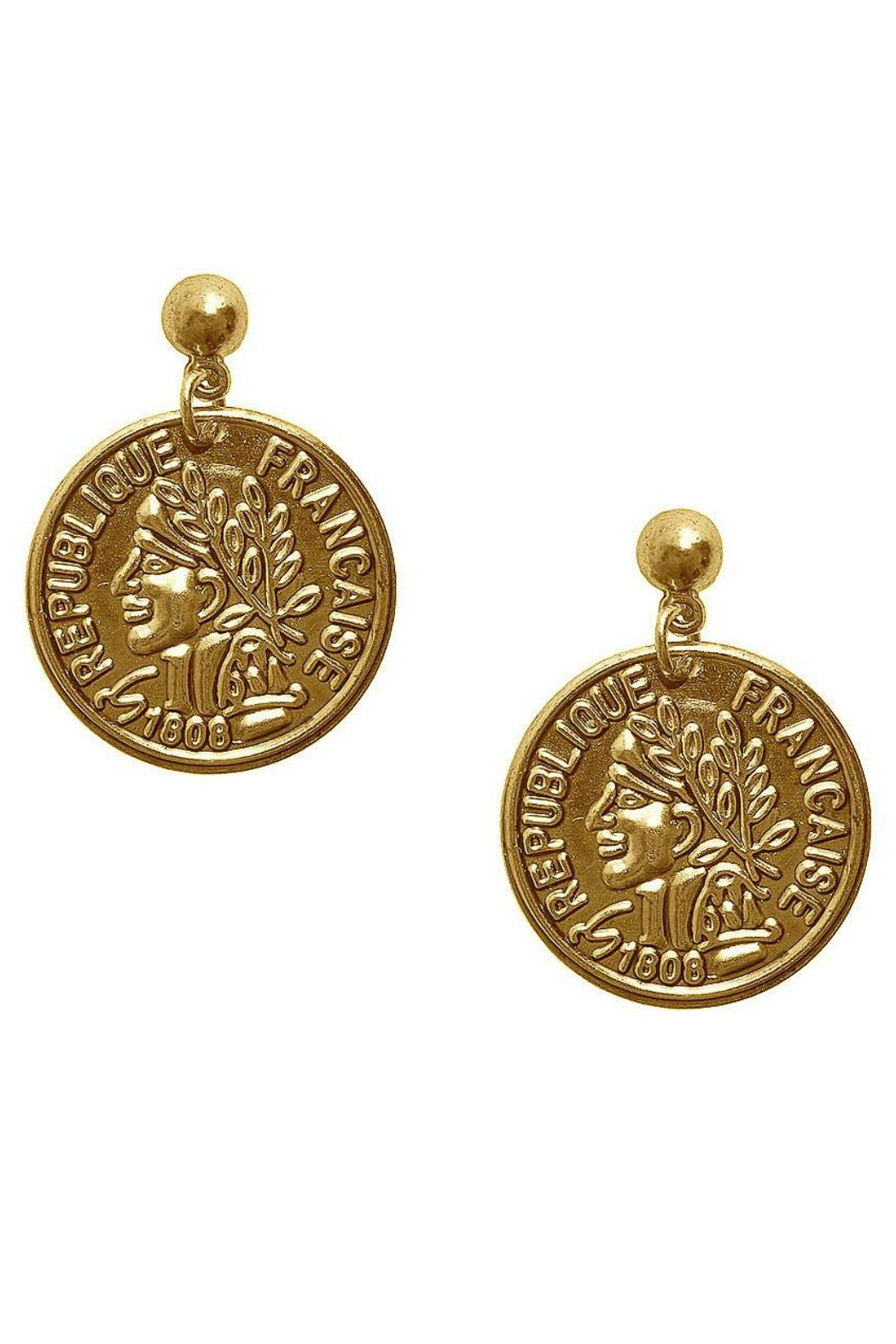 Karine Sultan Paris Gold Coin Earring Front Cropped Image