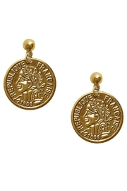 Karine Sultan Paris Gold Coin Earring - Front cropped