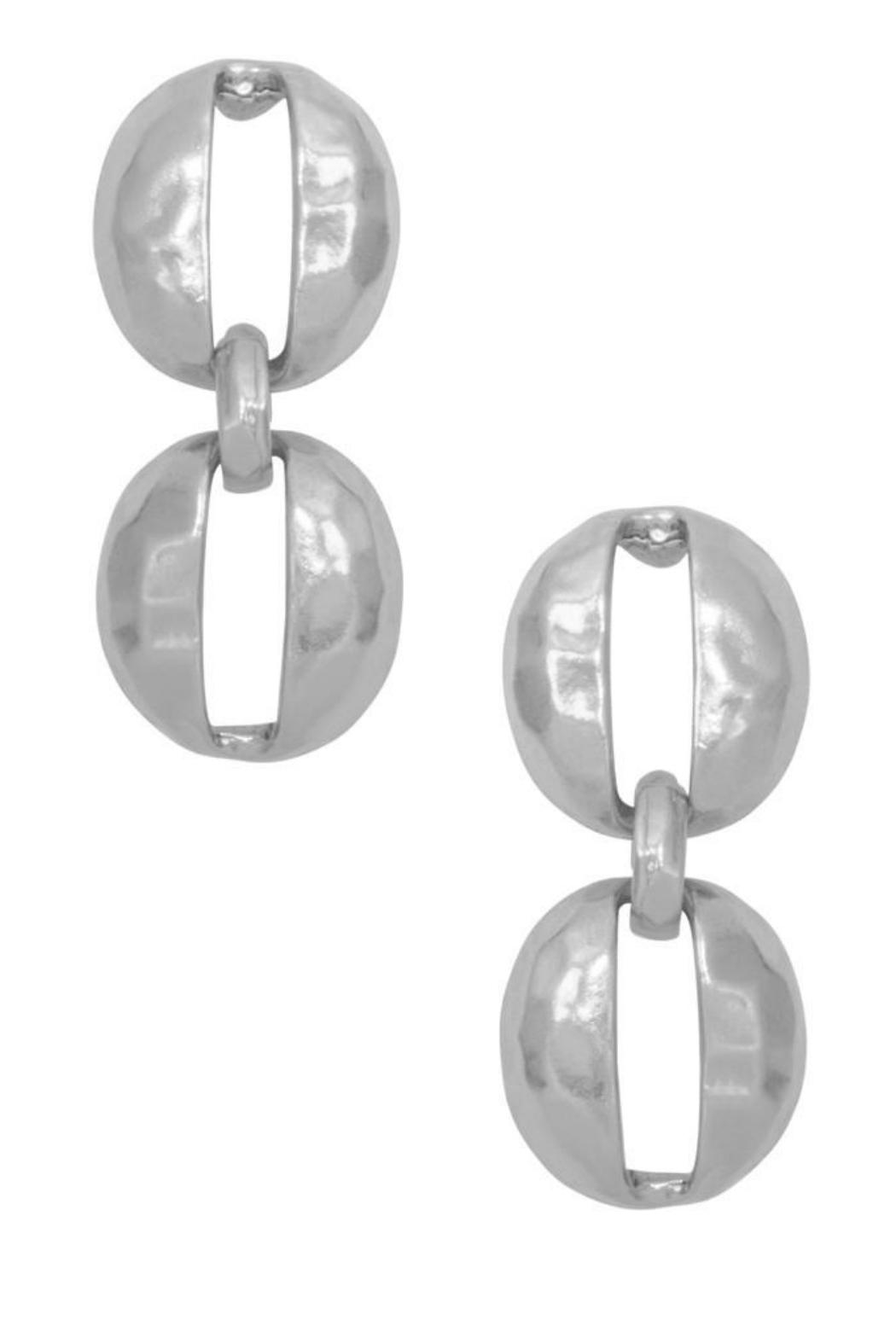 Karine Sultan Paris Oval Shell Earring - Front Cropped Image