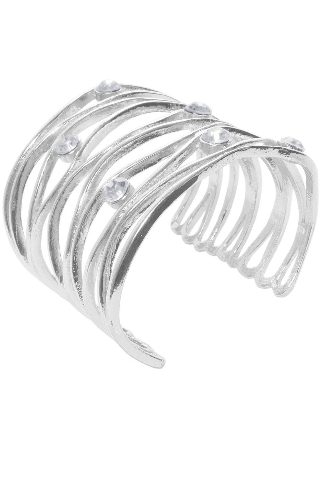 Karine Sultan Paris Wavy Crystaled Cuff - Front Cropped Image