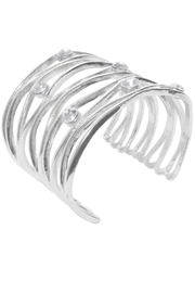Karine Sultan Paris Wavy Crystaled Cuff - Front cropped
