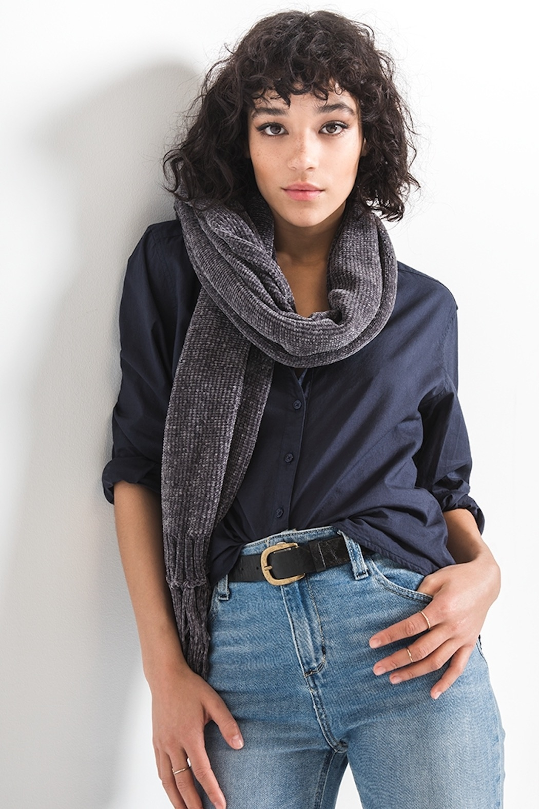 rag poets Karla chenille scarf - Front Cropped Image