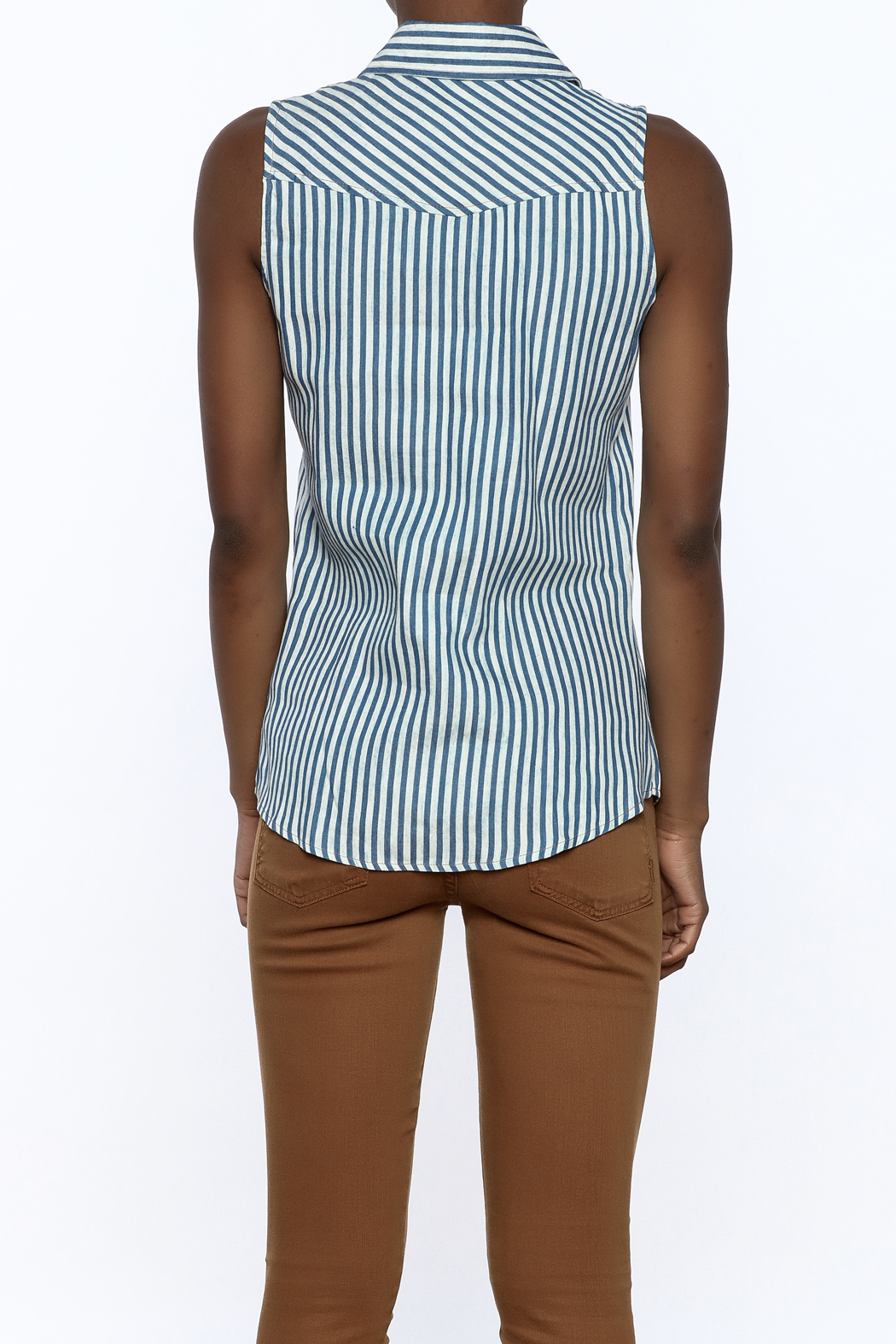 Karlie Stripe Button-Down Top - Back Cropped Image