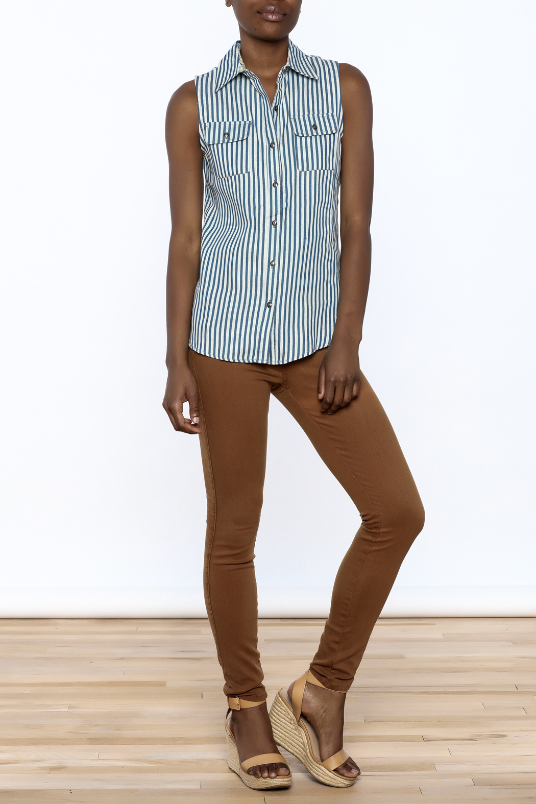 Karlie Stripe Button-Down Top - Front Full Image