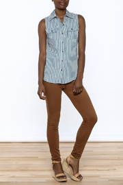Karlie Stripe Button-Down Top - Front full body
