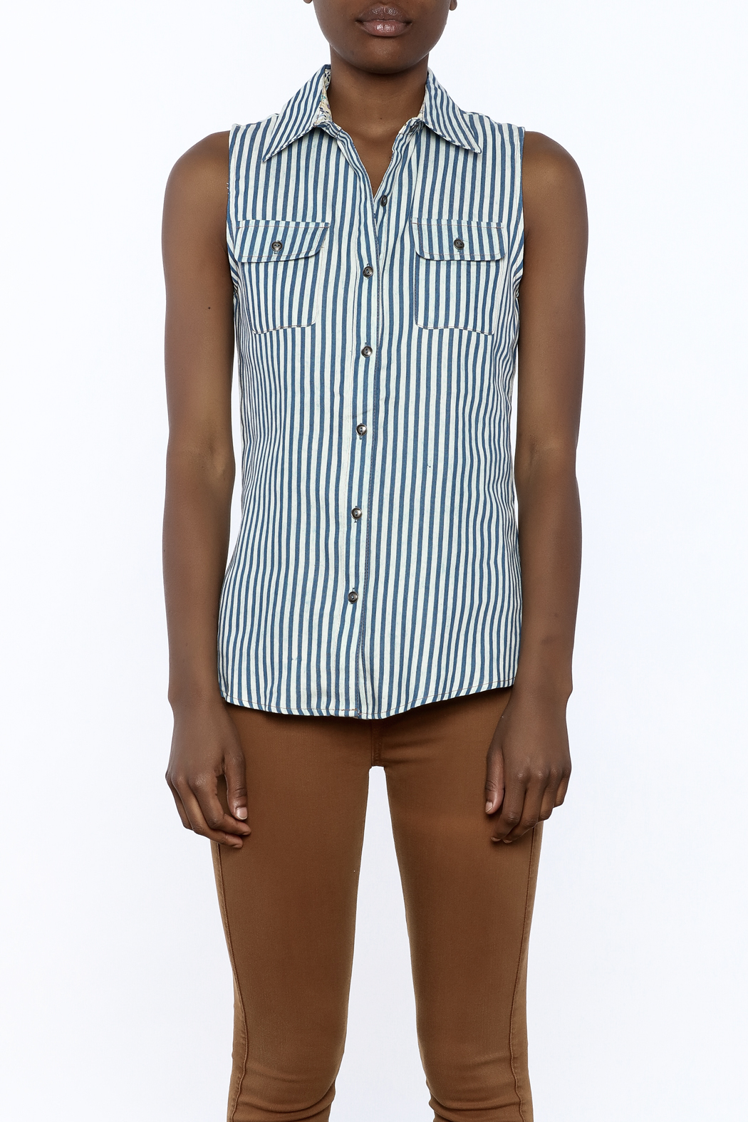 Karlie Stripe Button-Down Top - Side Cropped Image