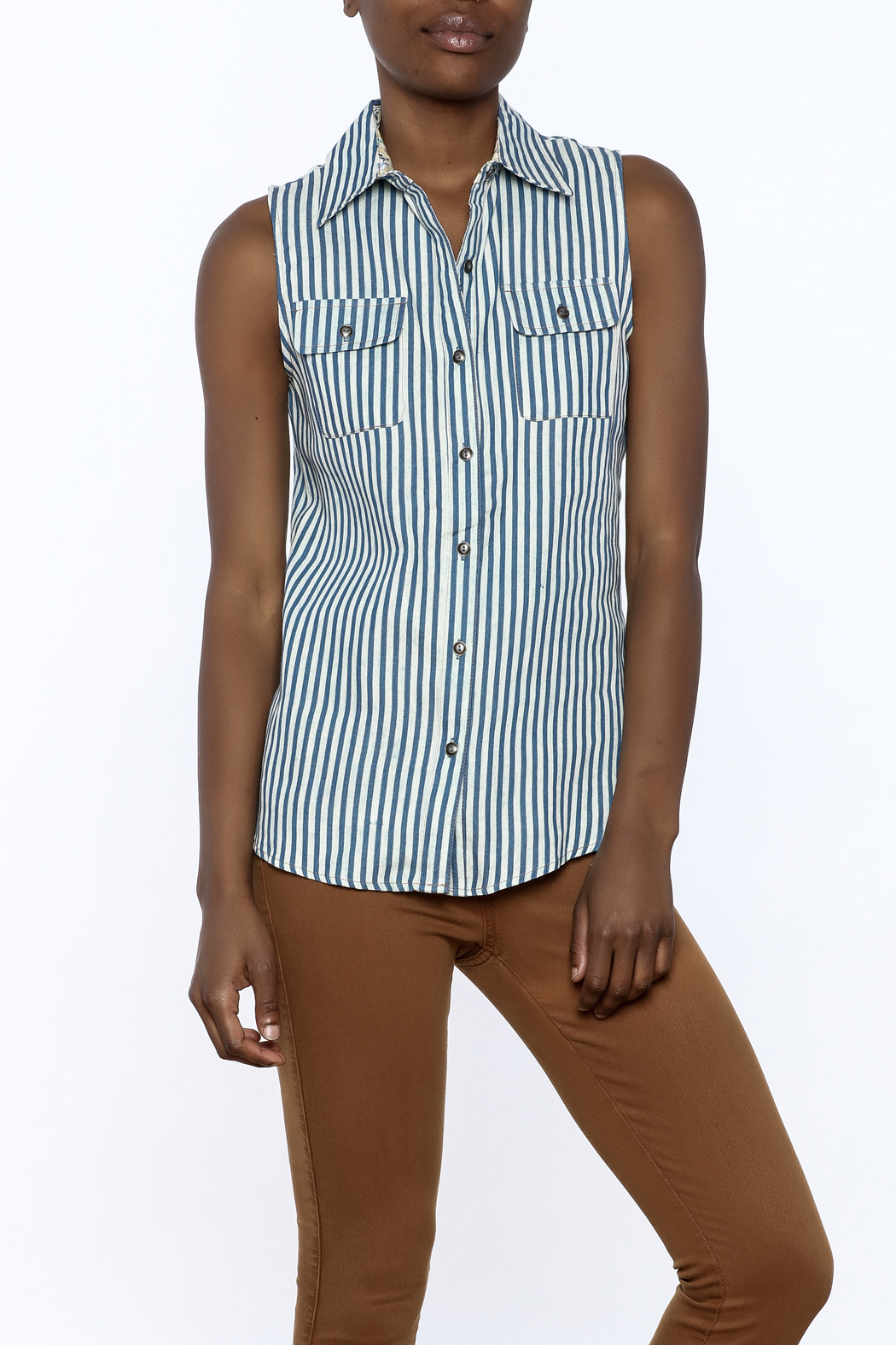 Karlie Stripe Button-Down Top - Main Image