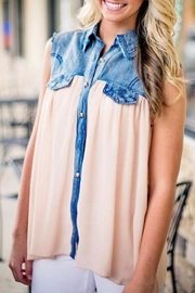 Karlie Denim Chiffon Tunic - Product Mini Image