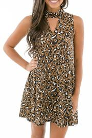 Karlie Leopard Choker Dress - Front cropped