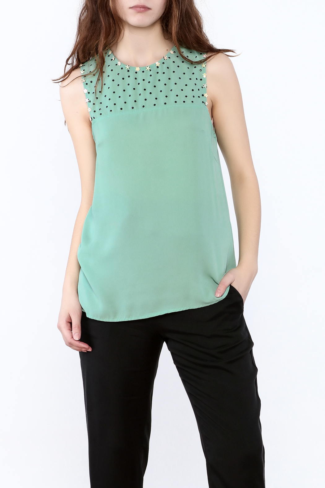 Karlie Mint Green Sleeveless Top - Main Image
