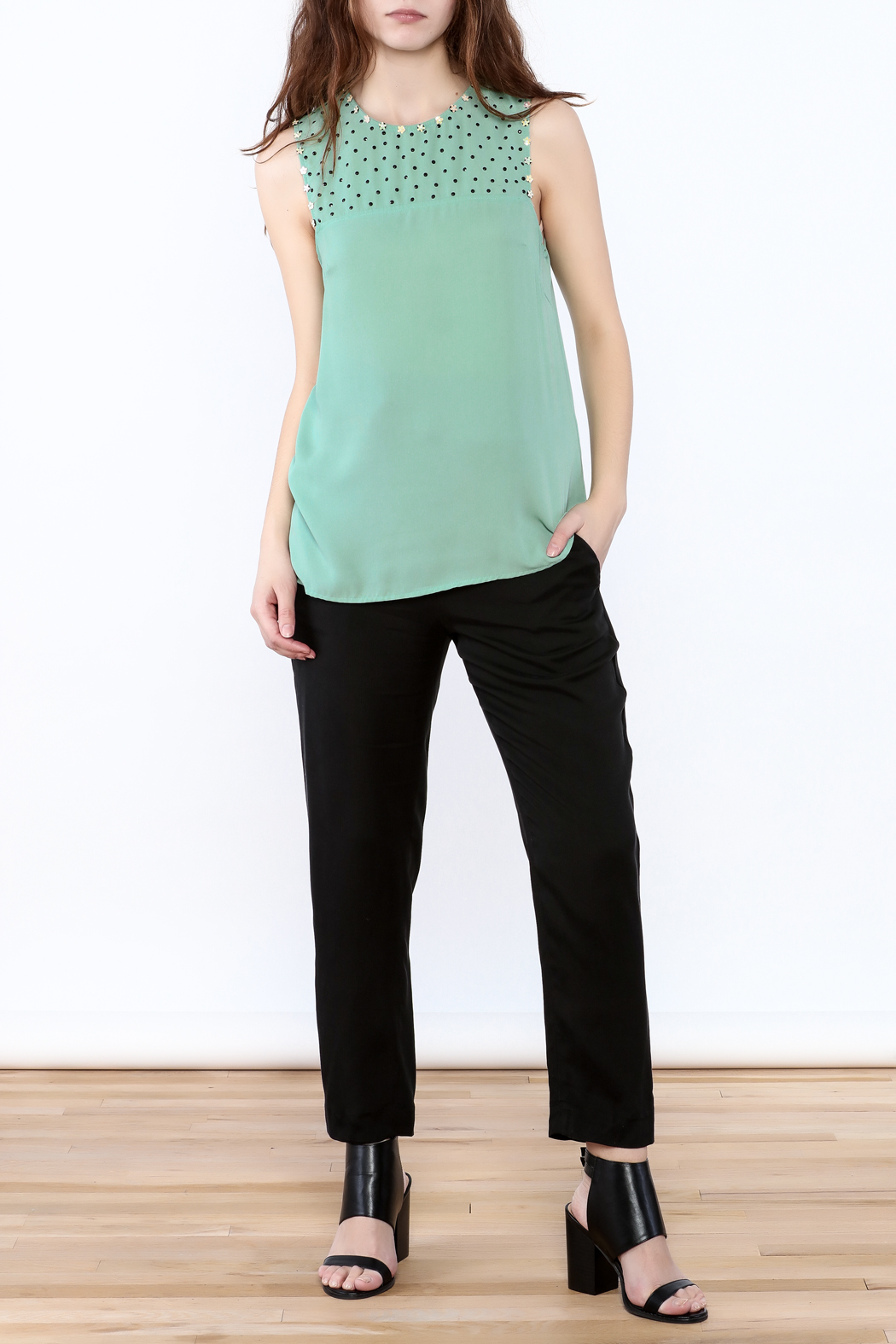 Karlie Mint Green Sleeveless Top - Front Full Image