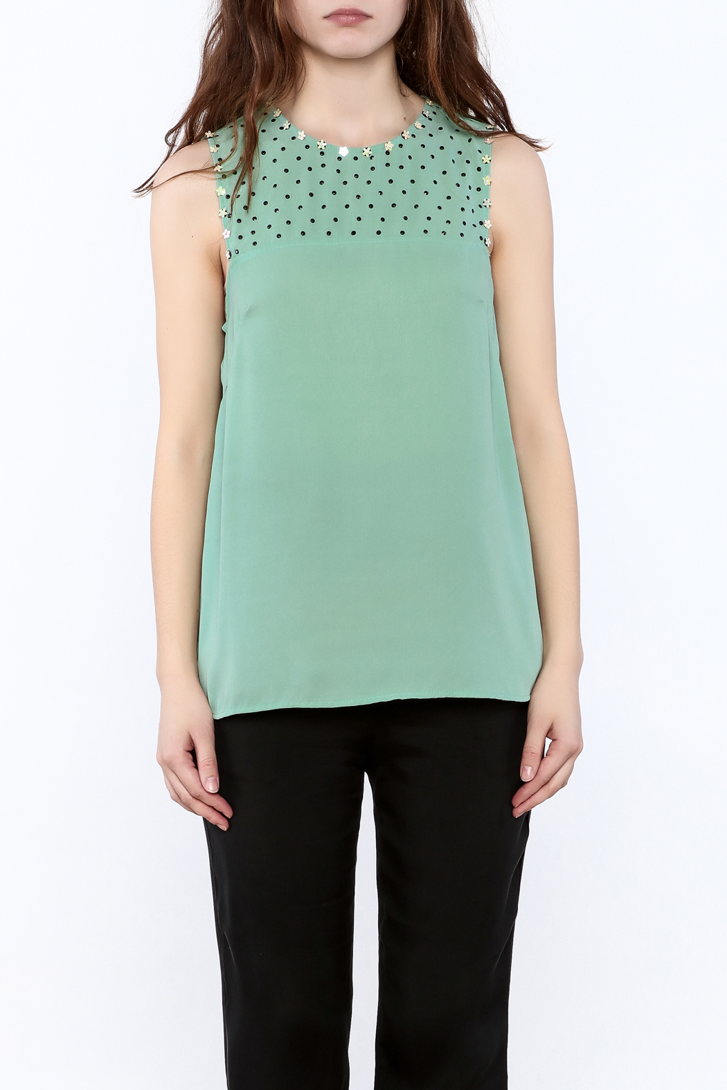Karlie Mint Green Sleeveless Top - Side Cropped Image