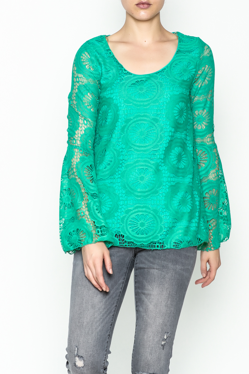 Karlie Teal Crochet Blouse - Front Cropped Image
