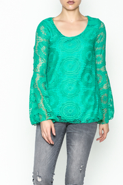 Karlie Teal Crochet Blouse - Product Mini Image