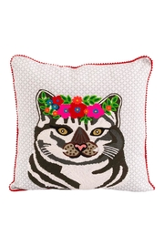 Karma Living Cat Flowers Pillow - Front cropped