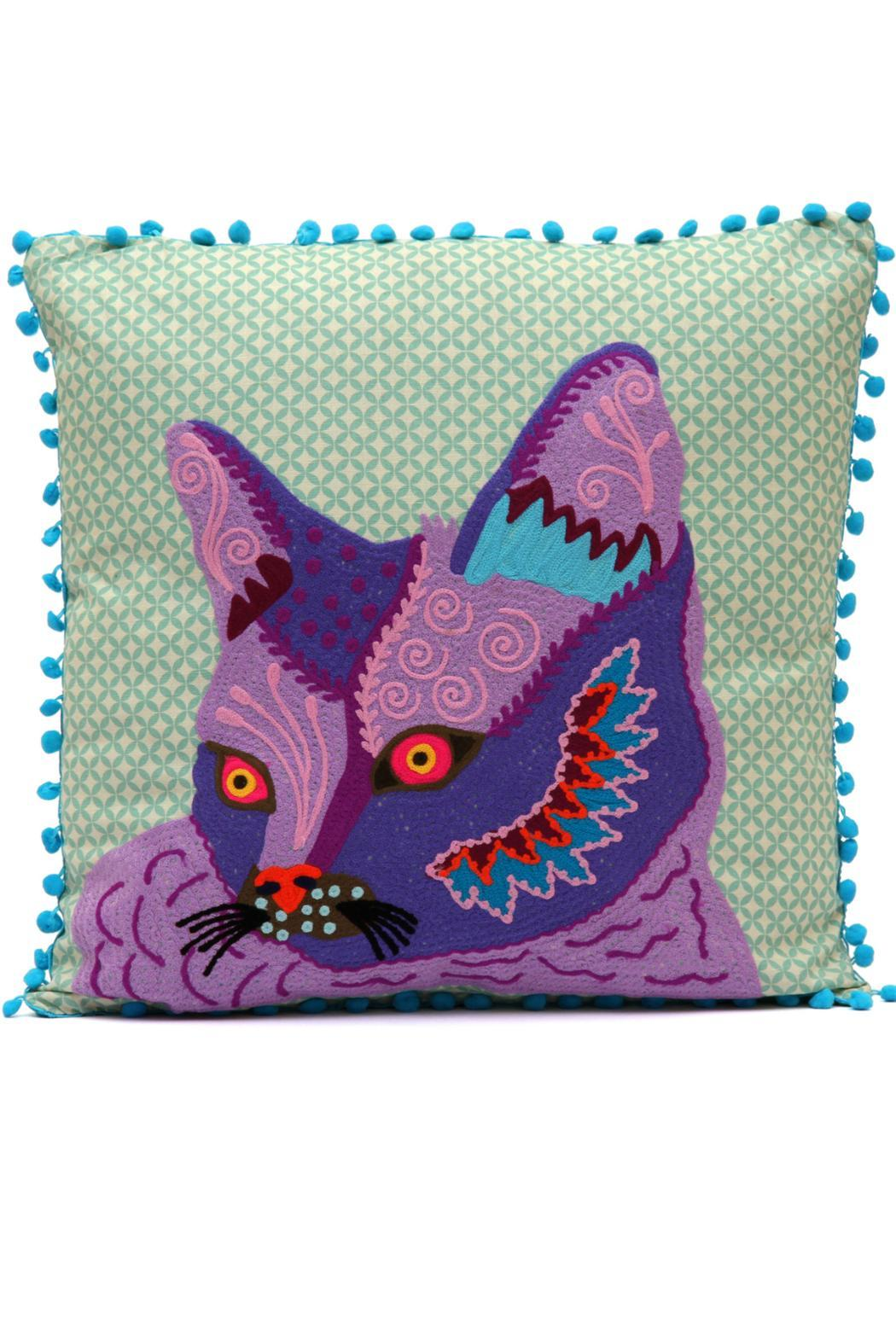 Karma Living Cat Pompom Pillow   Front Cropped Image
