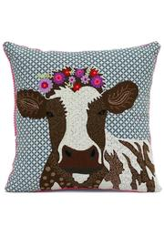 Karma Living Cow Pillow - Front cropped