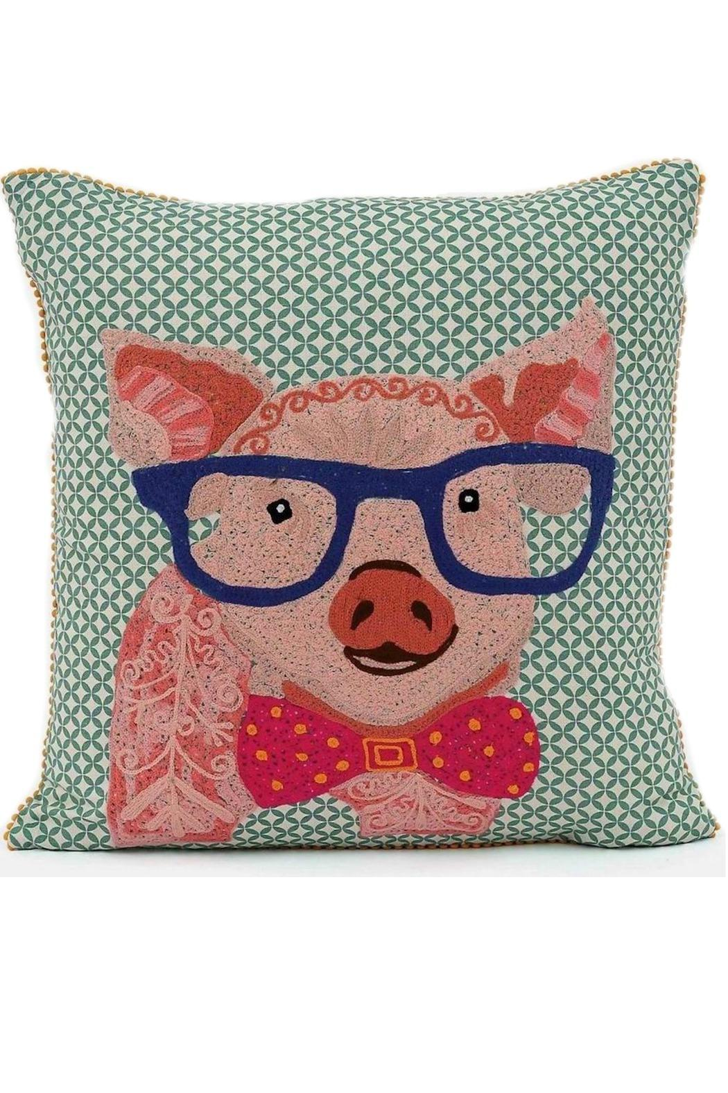 Marvelous Karma Living Pig Emboidered Pillow   Front Cropped Image