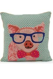 Karma Living Pig Emboidered Pillow - Product Mini Image